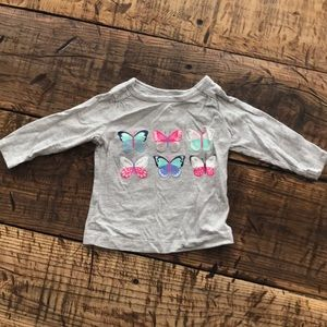 (4 for $5) Baby Girl Gray Long Sleeve Butterfly T